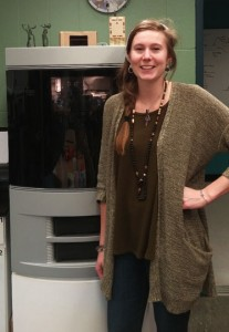 Sara Dorr and the Stratysys Dimension 3d printer. Photo by CRD